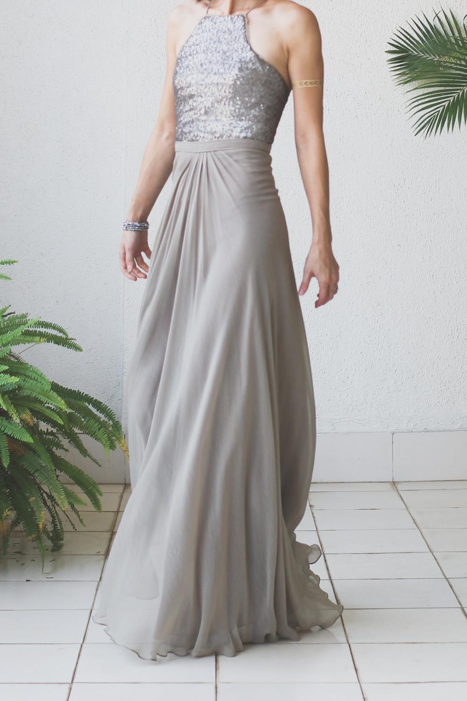 Micky Tan Grey Sequin Chiffon Dress-16
