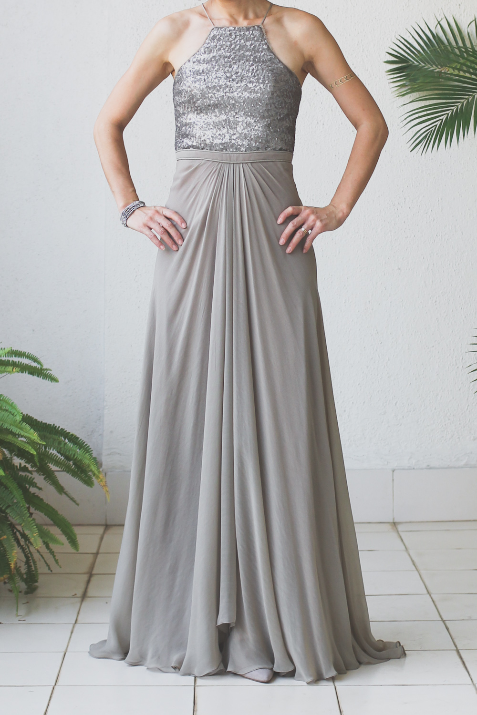 Micky Tan Grey Sequin Chiffon Dress-6
