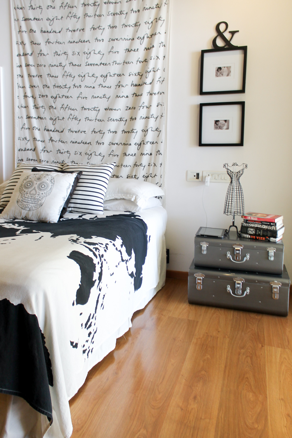 Bedroom Makeover with IKEA Fabric Metal Trunks