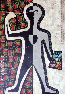 ALIAS IL PITTORE (1995) acrilico smalto collage su tela (145x100