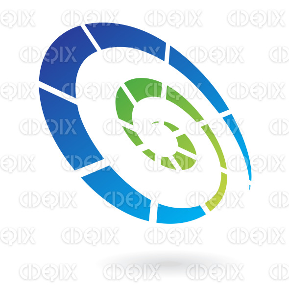 blue and green abstract dotted swirl, spiral lines logo icon Cidepix