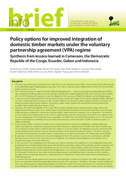 Policy options for improved integration of domestic timber markets - domestic partnership agreement