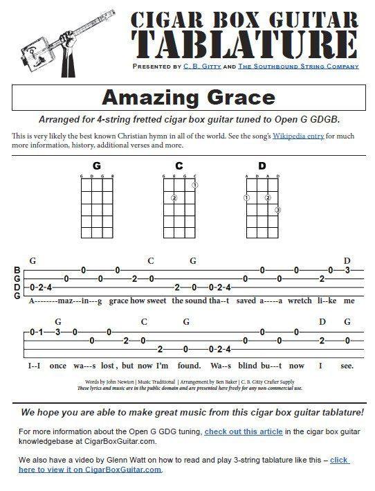 Amazing Grace - 4-string Open G GDGB - Cigar Box Guitar Tablature