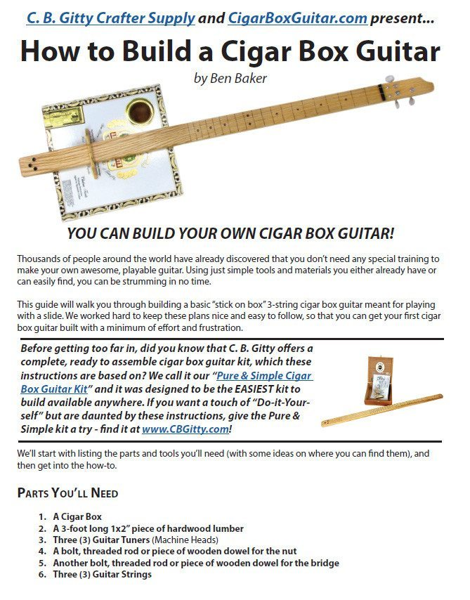 How to Build a 3-string Cigar Box Guitar - Free Plans