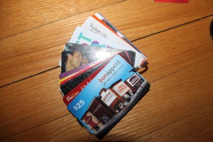 organized gift cards