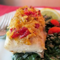 Sun-dried Tomato and Potato Crusted Baked Cobia #cobiacookoff #ad