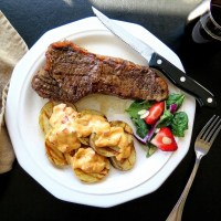 Tangy Tomato Chai Steaks with Saucy Grilled Spuds #SmokingHotSummerGiveaway #ad