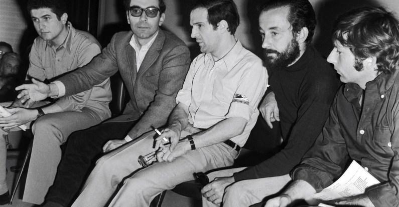 Claude Lelouch, Jean-Luc Godard, Francois Truffaut, Louis Malle et Roman Polanski, Festival de Cannes, Mai 1968.