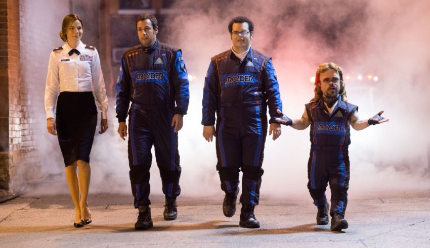 """(L-r) Michelle Monaghan, Adam Sandler, Josh Gad and Peter Dinklage star in Columbia Pictures' """"Pixels"""""""