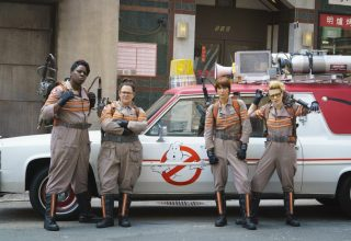 (L-R) Leslie Jones, Melissa McCarthy, Kristen Wiig and Kate McKinnon star in Columbia Pictures' GHOSTBUSTERS
