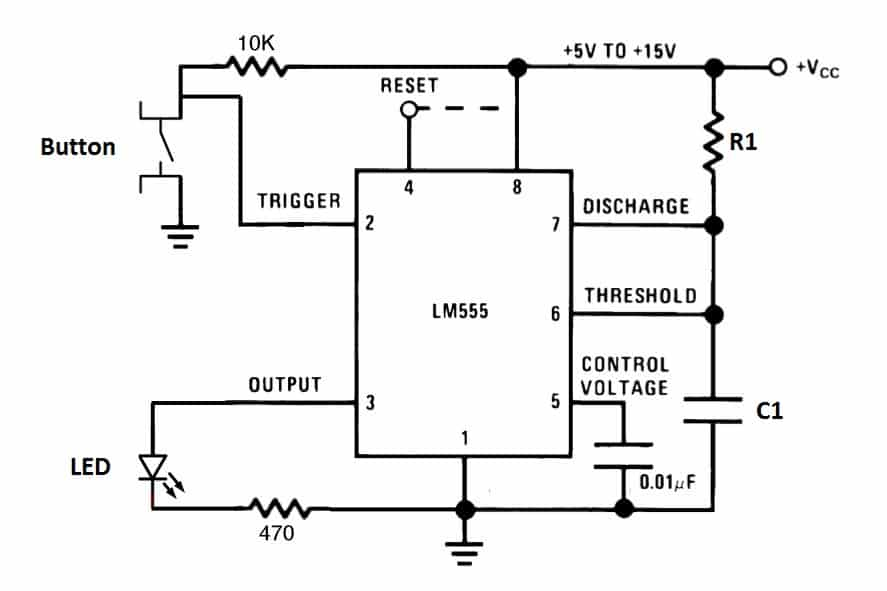 led circuit with timer 555 circuitschematic