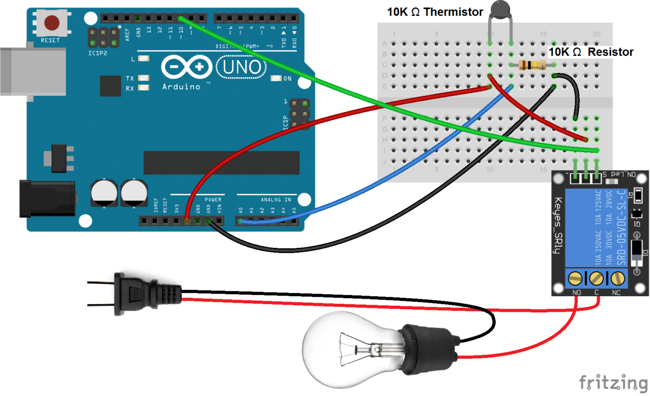 Operating 220v Device By Using Arduino Uruktech Circuit For Measuring Temperature A Thermistor And Connect The Power Wire Of Light Bulb Cord To No Normally Open Terminal Relay Neutral C