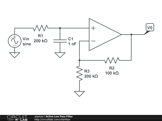 first order lowpass active filter the circuit schematic diagram and