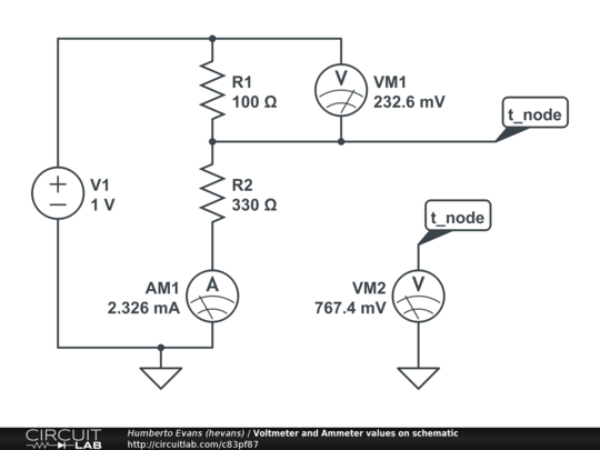 circuit diagram with voltmeter and ammeter