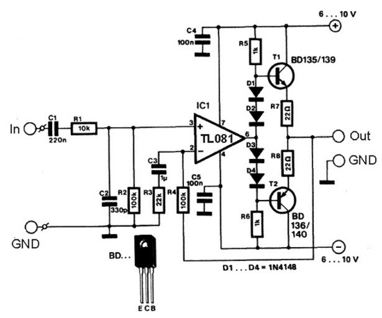 stereo headphone amplifier circuit schematic
