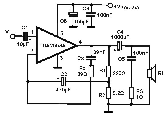 10 w power amplifier based tda2003