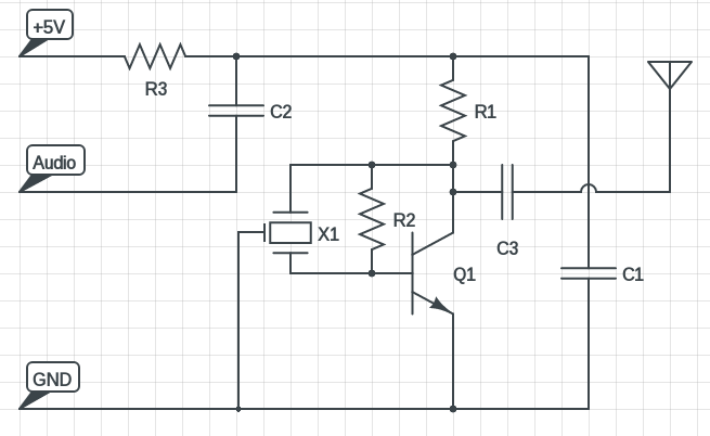 the schematic of the 1w am 7mhz 40m short wave transmitter