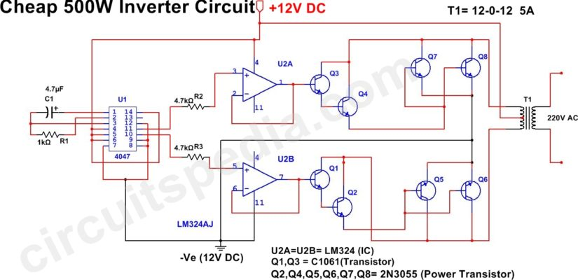 500 w inverter circuit diagram