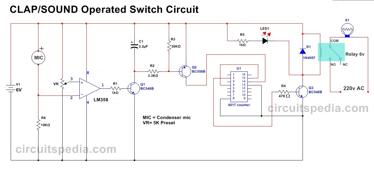 Simple Clap Switch Circuit diagram using relay Clap ON Clap OFF Switch