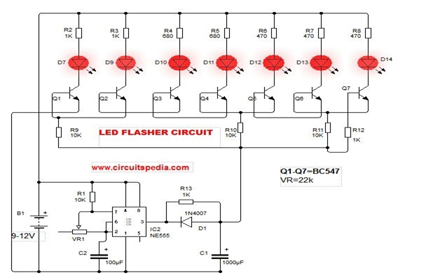 LED Flasher Circuit Diagram with 555 How to Make Blinking LED Circuit