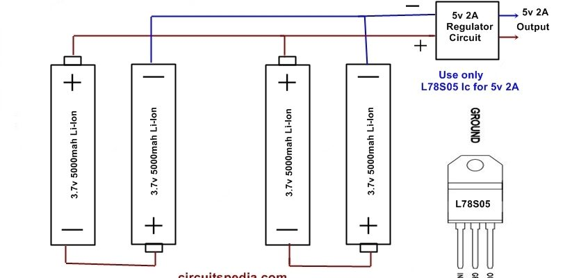 Homemade 10000mah Power bank Circuit Diagram using Li-ion AA Battery