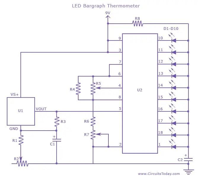 LED Thermometer-Temperature Measurement Circuit using LM 34 IC