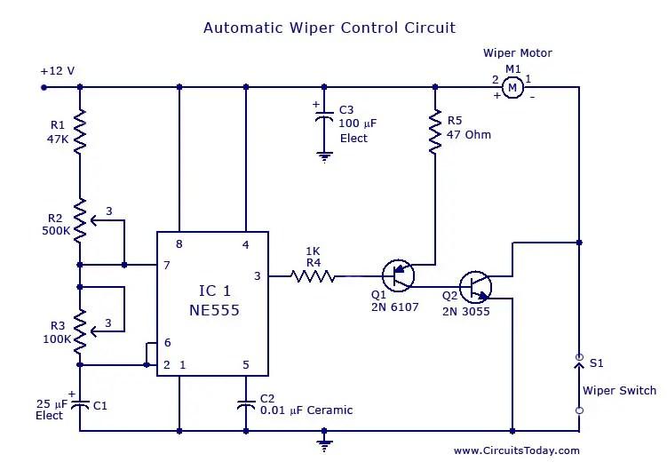 Automatic Wiper Control Circuit using NE 555 IC