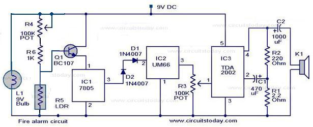 Smoke Alarm Circuit Control Cables  Wiring Diagram