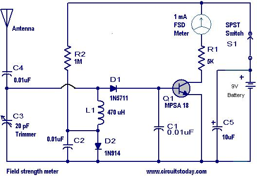 Field Strength Meters Circuits - Electronics Tutorial and Schematics