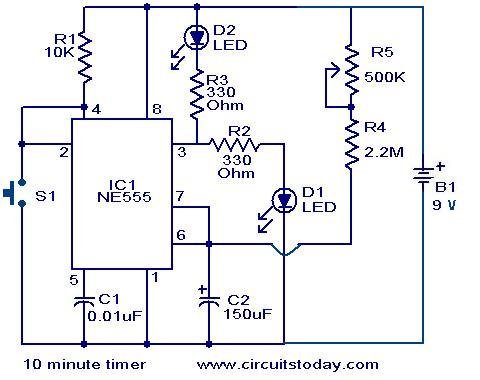 10 Minute timer circuit - Electronic Circuits and Diagrams