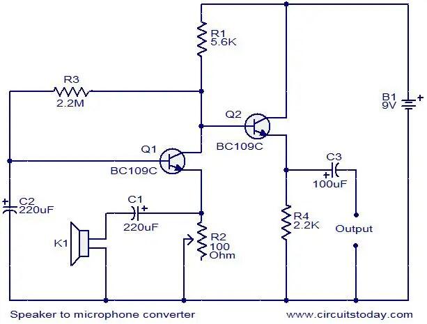 speaker-to-microphone-converter-circuit