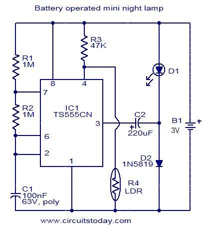 Battery operated mini night lamp - Electronic Circuits and Diagrams