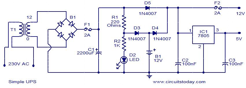 Simple UPS - Electronic Circuits and Diagrams-Electronic Projects