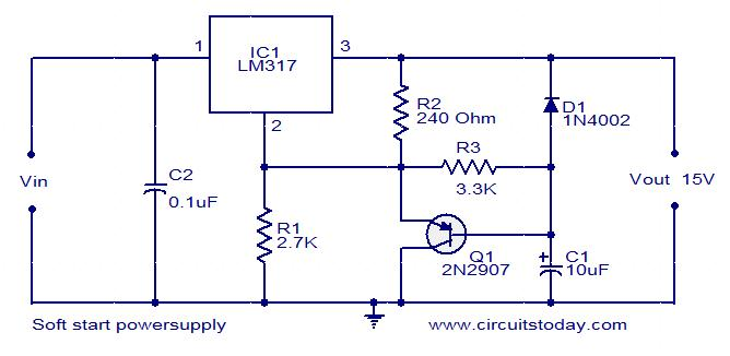 Soft start Power supply circuit - Electronic Circuits and Diagrams