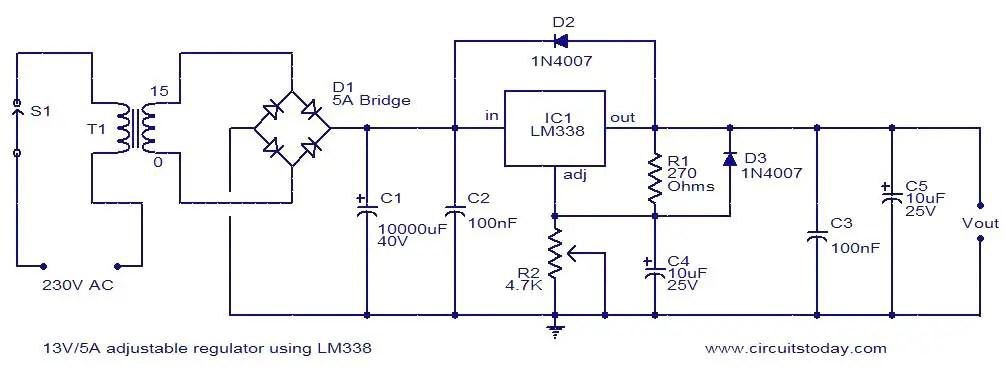 12 Volt Dc Limit Switch Wiring Diagram 13v 5a Adjustable Regulator Using Lm338 Electronic