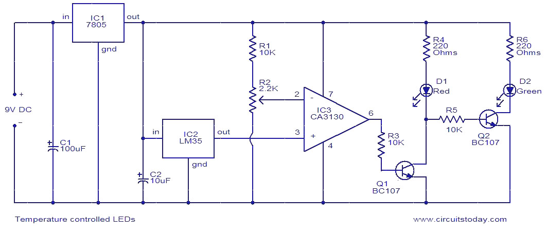 Temperature controlled LEDs - Electronic Circuits and Diagrams