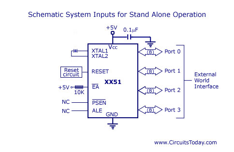8051 Microcontroller Circuit Wires_Circuit Blogs