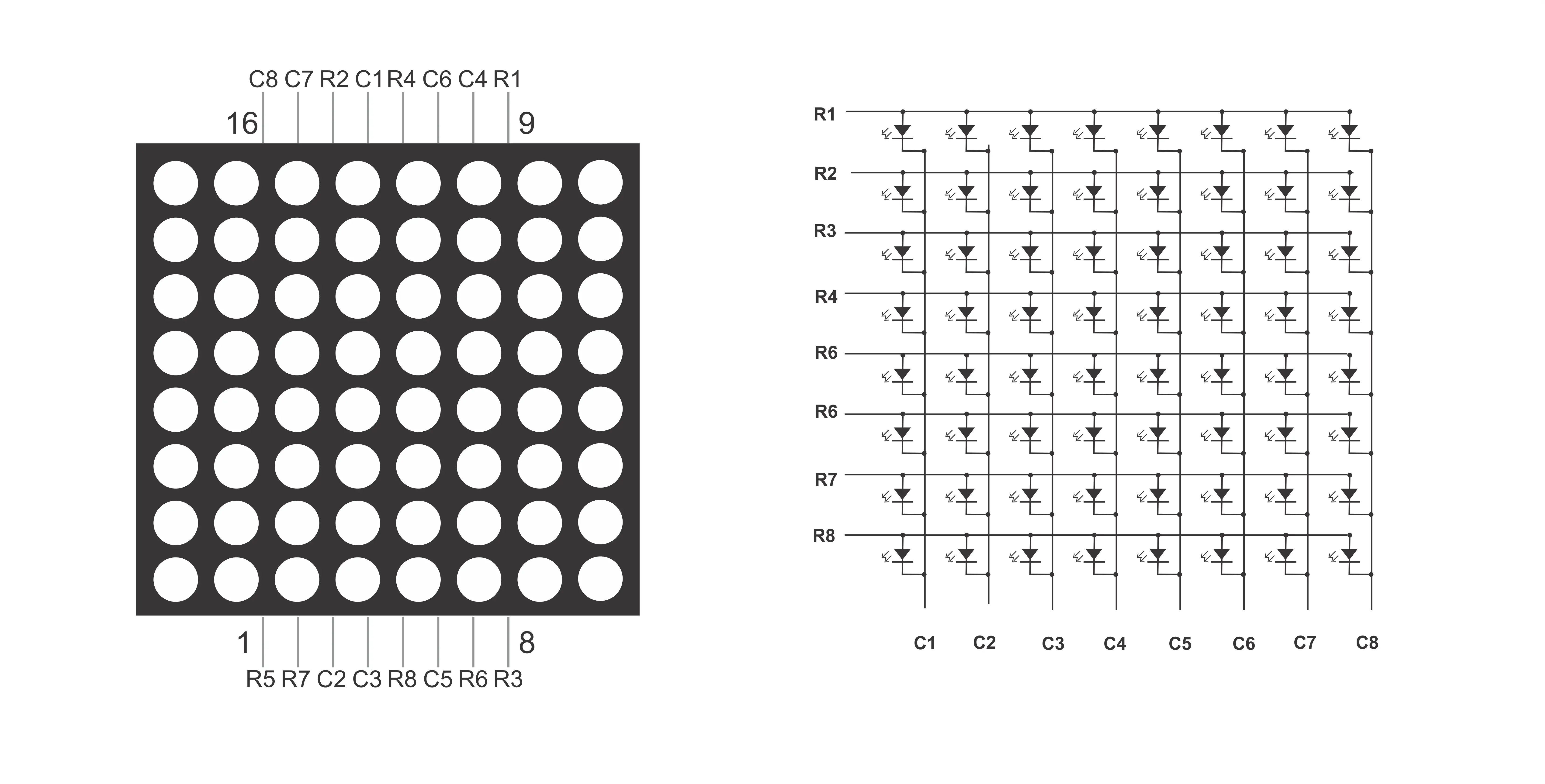 pinout further arduino 8x8 led matrix on 8x8 led matrix schematic