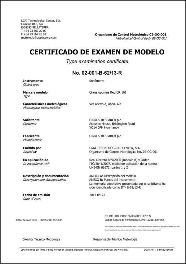CERTIFICADO DE EXAMEN DE MODELO CR161 Optimus Sonómetro UNE-EN