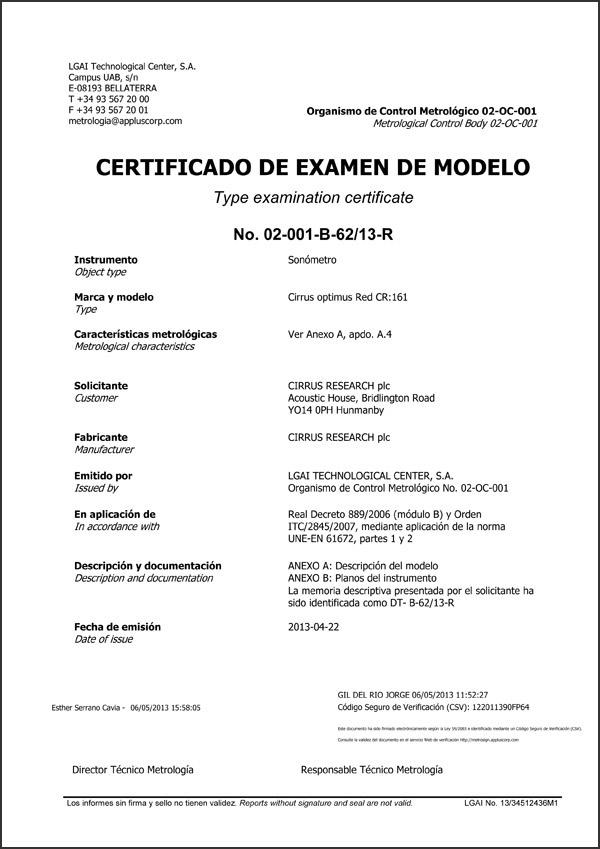 Cirrus Research, SL - Certificado de examen de modelo de los