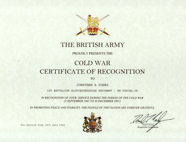 British Cold War Recognition Certificate
