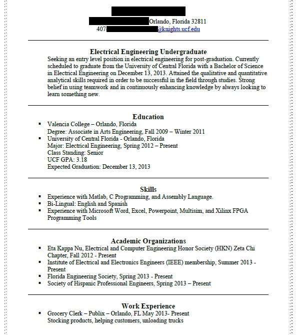 First resume in engineering (engineers, program, graduated, job - how to do a college resume
