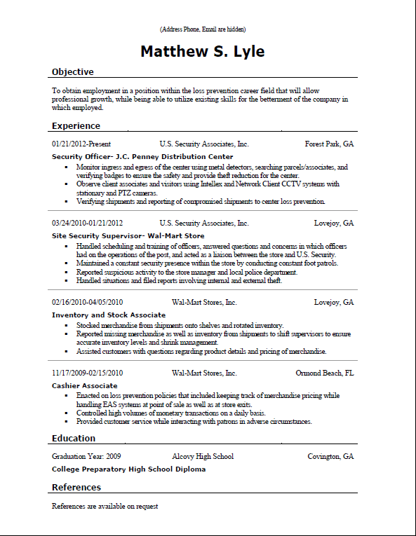 msl resume sample