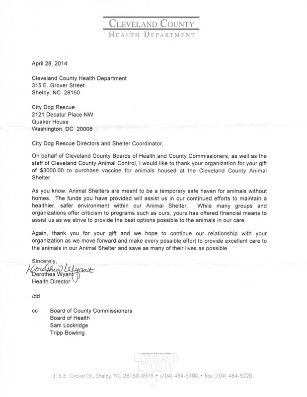 Thank you letter from CCAC - City Dogs Rescue  City Kitties