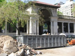 The City was forced to halt construction on the pavilion at Union Square Park in 2008. Photo: Jonathan Reingold.