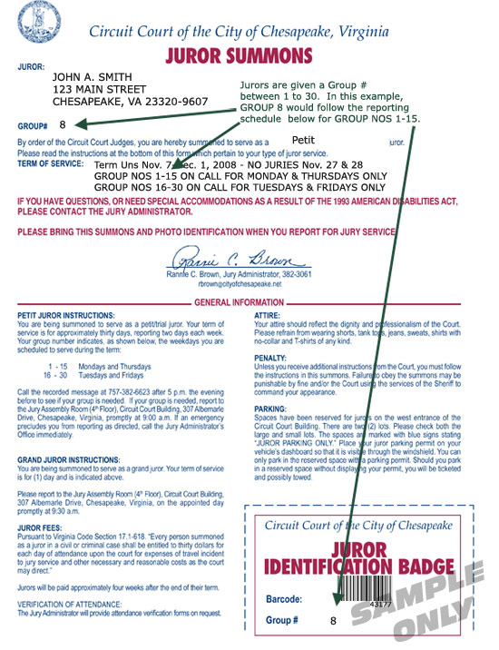 Juror Summons Sample - Civil Summons Form