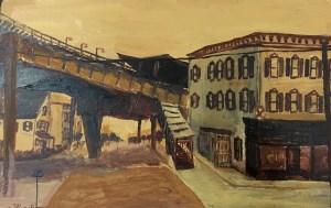 "Oscar Azmitia, ""The Wadsworth Ave. Train Station,"" acrylic on wood, 7.5"" x 5"", 2015"