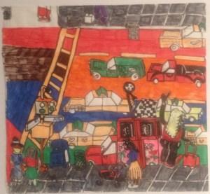 "Howard Schefflin, ""A Street Corner,"" ink on paper, 12"" x 13"", 2012"