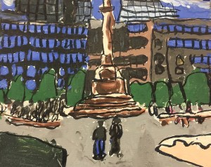 "Susan Brown, ""Columbus Circle, mixed media on canvas, 8"" x 10"", 2011"