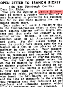 """""""What the People Think: Open Letter to Branch Rickey"""". The Pittsburgh Courier, Nov 10, 1945"""